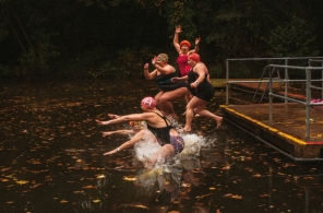 A Wild Swimming Women's Group take an autumnal swim at Hampstead Heath ponds.